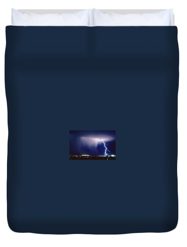 Lightning Duvet Cover featuring the photograph Solitude by Cathy Franklin