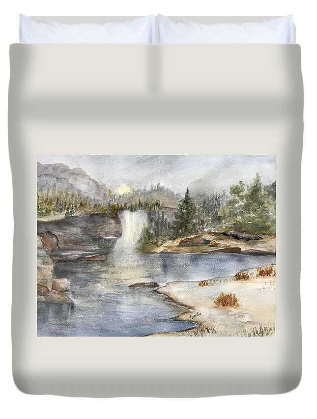 Lake Duvet Cover featuring the painting Solitude by Paintings by Florence - Florence Ferrandino