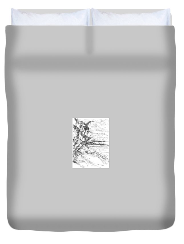 Boat Duvet Cover featuring the drawing Solitude by Harold Ellison