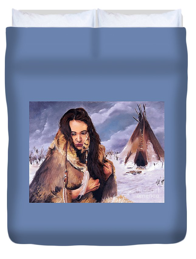 Southwest Art Duvet Cover featuring the painting Solitude by J W Baker