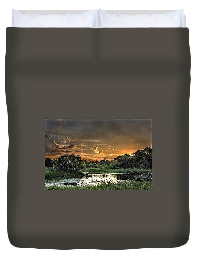 Sunset Duvet Cover featuring the photograph Solitude by Norman Johnson