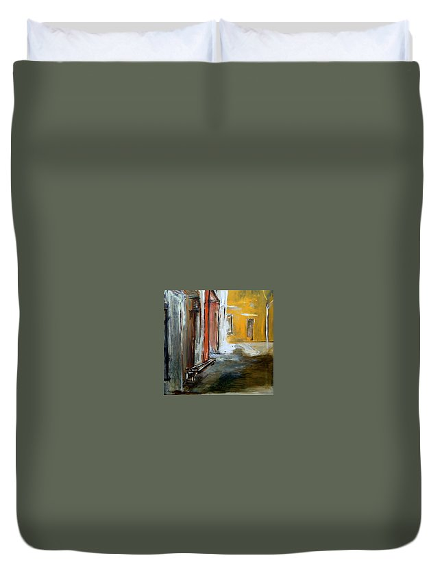 Easter Duvet Cover featuring the painting Solitude by Rome Matikonyte