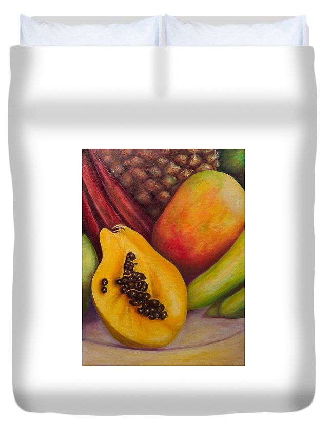 Tropical Fruit Still Life: Mangoes Duvet Cover featuring the painting Solo by Shannon Grissom