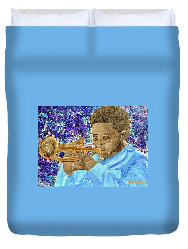 Sax Player Paintings Paintings Duvet Cover featuring the painting Solo Trumpet by Michael Lee