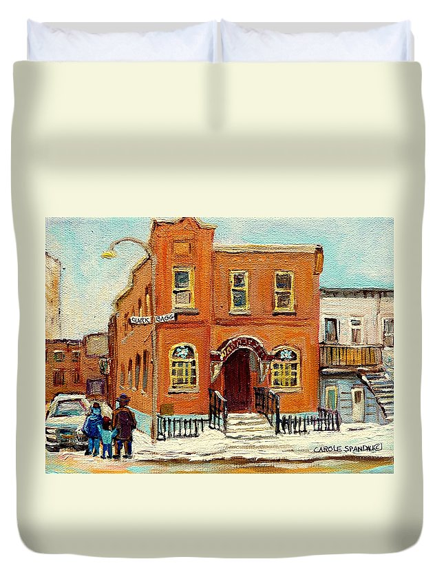 Bagg Street Synagogue Duvet Cover featuring the painting Solomons Temple Montreal Bagg Street Shul by Carole Spandau