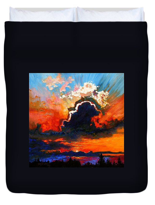 Landscape Duvet Cover featuring the painting Some Glad Morning by John Lautermilch