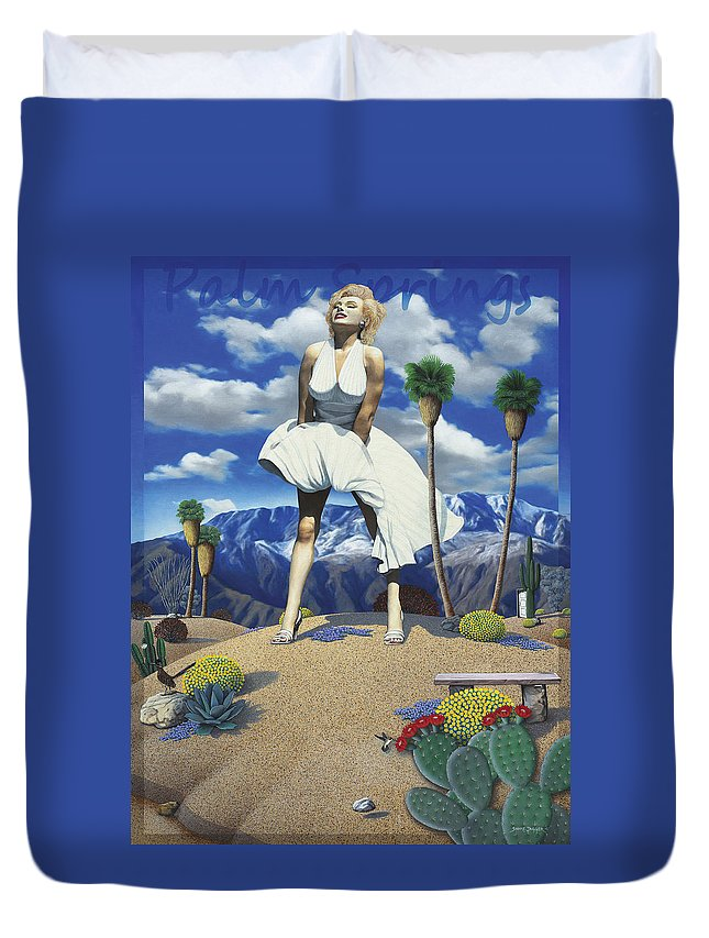 Marilyn Duvet Cover featuring the painting Some Like it Hot by Snake Jagger
