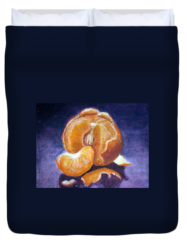 Still Life Duvet Cover featuring the painting Some Orange by Kayla Bozoti