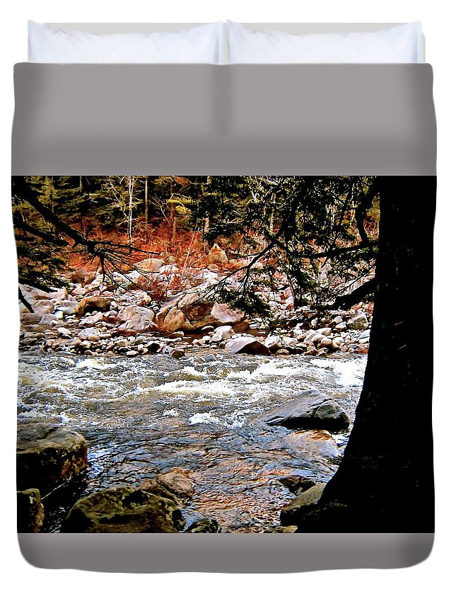 Duvet Cover featuring the photograph Swift River Along The Kancamagus by Elizabeth Tillar
