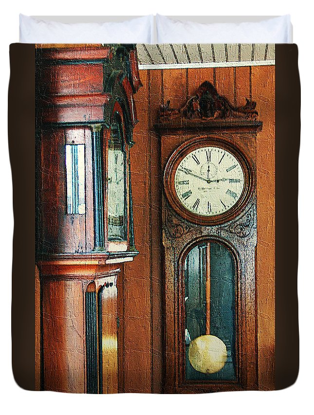 Antiques Duvet Cover featuring the digital art Somebodys Grandfathers Clocks by RC DeWinter