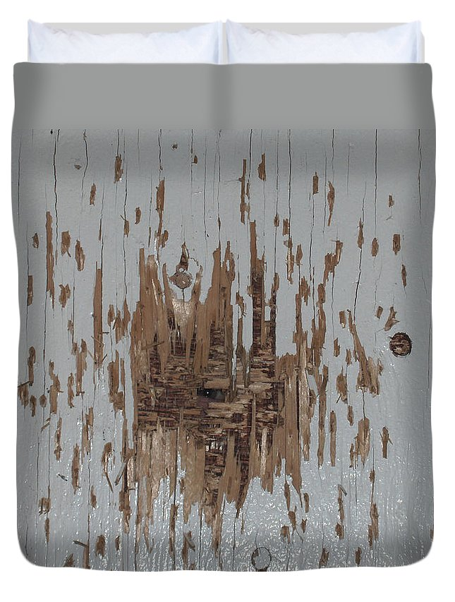 Eye Gun Shot Walls Hole Eerie Scary Wood Alone Duvet Cover featuring the photograph Someone Watching by Andrea Lawrence