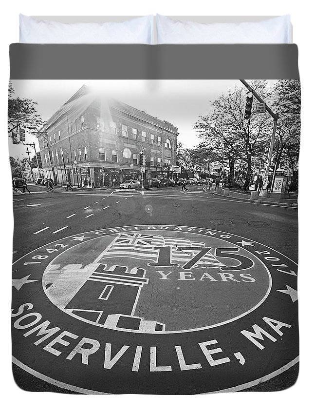 Somerville Duvet Cover featuring the photograph Somerville Ma Davis Square 175 Years Black And White by Toby McGuire