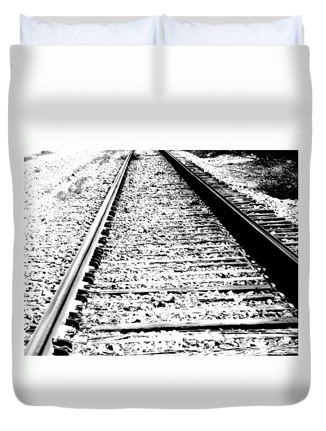 Abstract Duvet Cover featuring the photograph Something About The Railroad Tracks by Lenore Senior