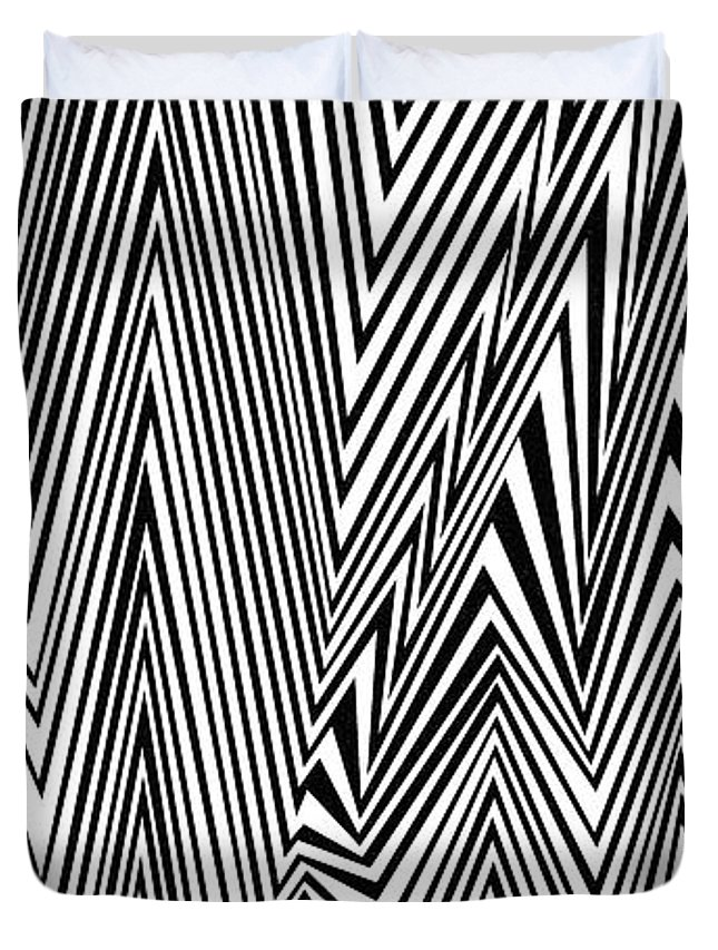 Dynamic Black And White Duvet Cover featuring the painting Something Approaching by Douglas Christian Larsen