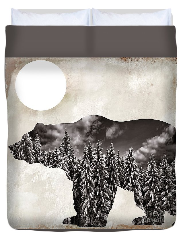 Bear Duvet Cover featuring the painting Something Wild Bear by Mindy Sommers