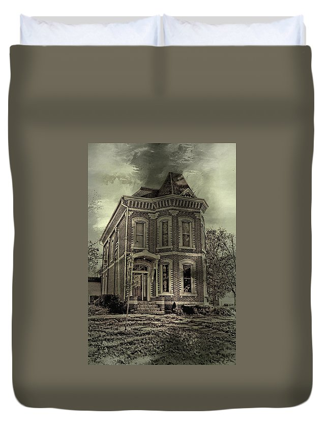 Haunted Duvet Cover featuring the photograph Something's Happening Here by Theresa Campbell
