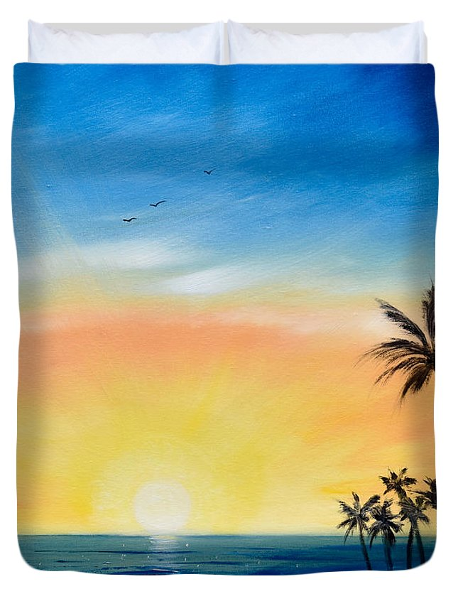 Art Duvet Cover featuring the painting Sometimes I Wonder - Vertical Sunset by Gina De Gorna