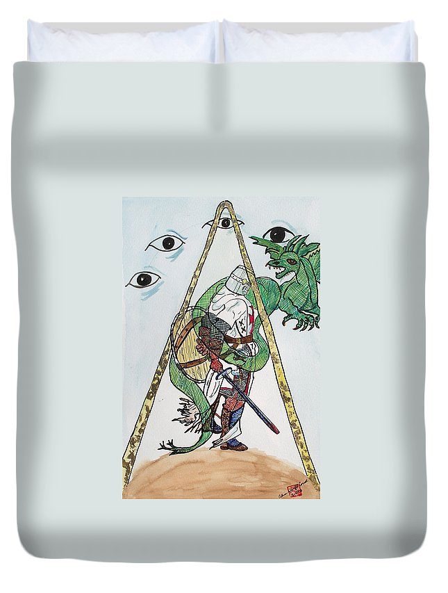Knights Duvet Cover featuring the painting Sometimes The Dragon Wins by Arlene Wright-Correll