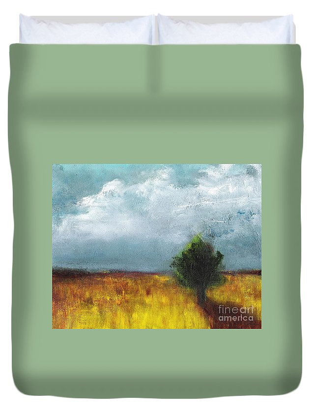 Landscapes Duvet Cover featuring the painting Sometimes The Light Is Just Right by Frances Marino