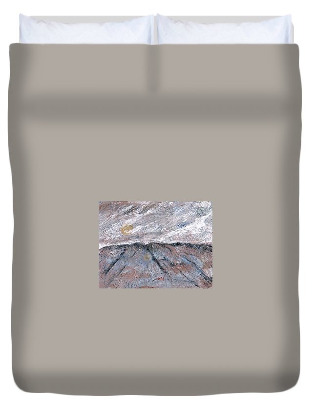 Mountains Duvet Cover featuring the painting Somewhere Higher by Rollin Kocsis