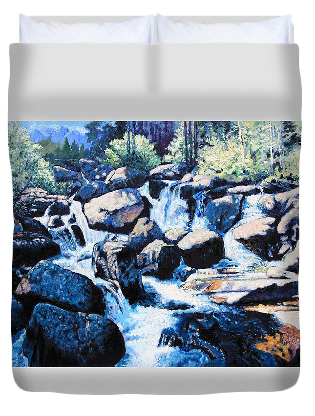 Rocky Mountains Duvet Cover featuring the painting Somewhere in the Rocky Mountains by John Lautermilch