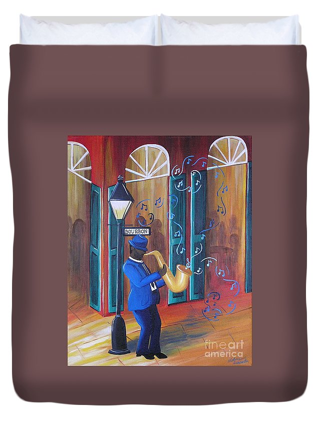 Bourbon Street Duvet Cover featuring the painting Somewhere On Bourbon Street by Valerie Carpenter