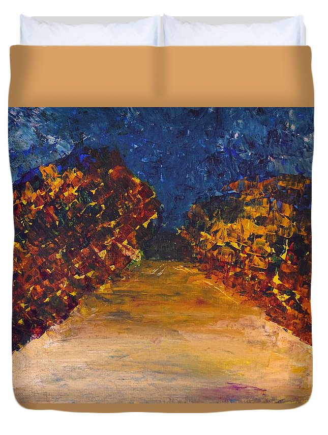 Dark Blue Sky Duvet Cover featuring the painting Somewhere Or Nowhere by Valerie Dauce