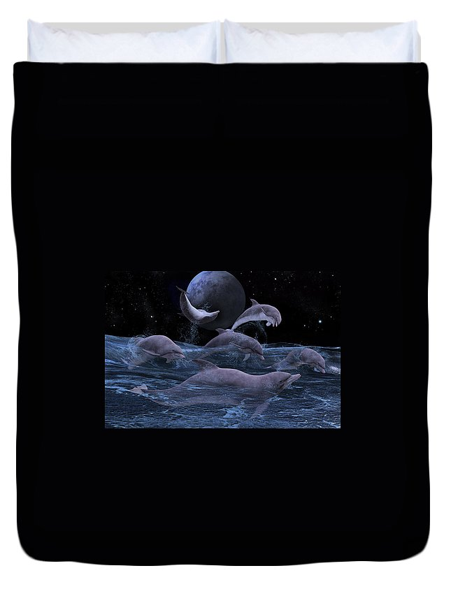 Fantasy Duvet Cover featuring the digital art Somewhere Out There by Betsy Knapp