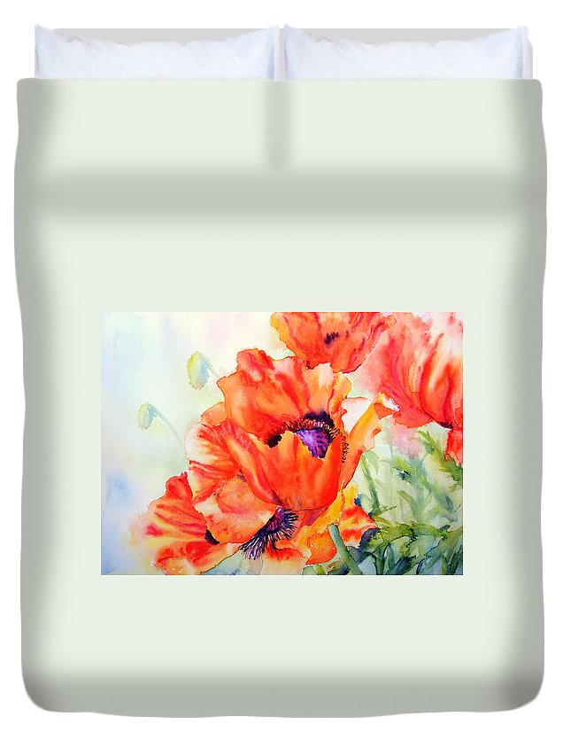 Poppies Duvet Cover featuring the painting Song Of Summer by Ruth Harris
