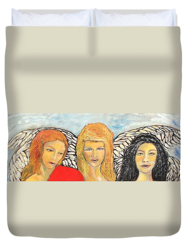 Angels Duvet Cover featuring the painting Song Of The Sisters by J Bauer