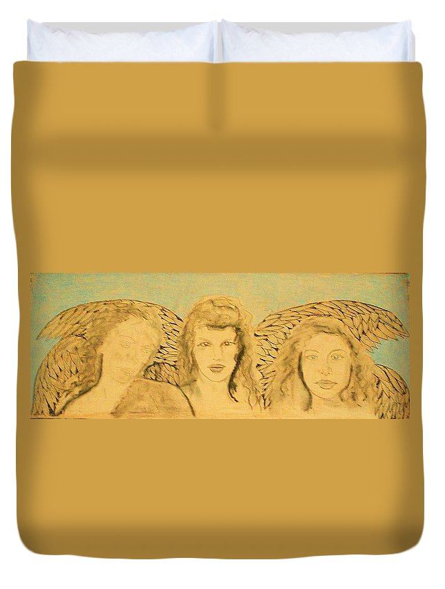 Angels Duvet Cover featuring the drawing Song Of The Sisters Unfinished by J Bauer
