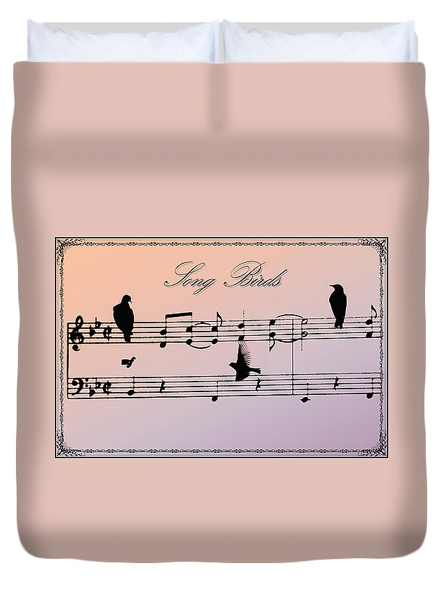 Bird Duvet Cover featuring the photograph Songbirds With Border by Bill Cannon