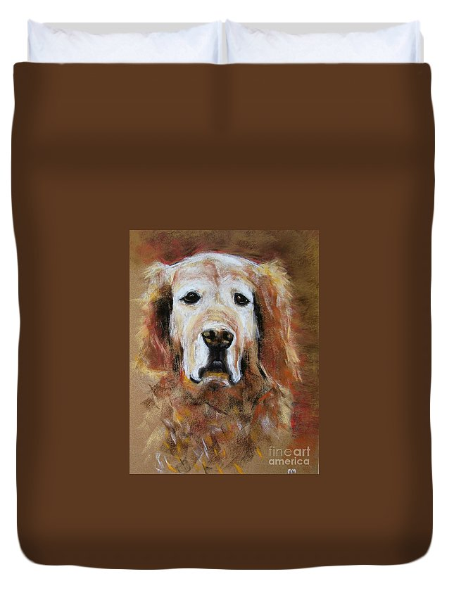 Golden Duvet Cover featuring the painting Sonny by Frances Marino