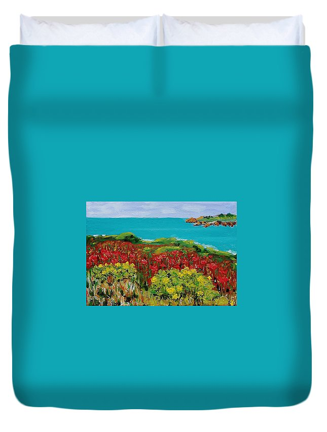 Sonoma Duvet Cover featuring the painting Sonoma Coast With Wildflowers by Mike Caitham
