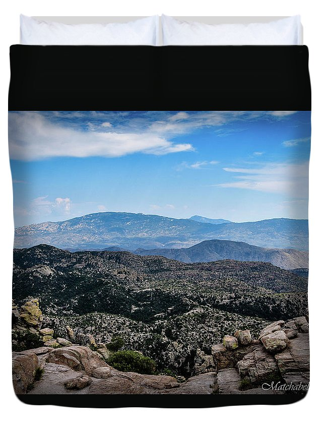 Landscape Photography Duvet Cover featuring the photograph Sonoran Cliff Lookout by Eric M Bass