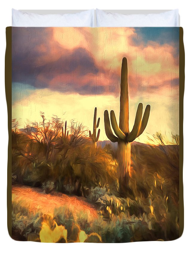 Saguaro National Park Duvet Cover featuring the photograph Sonoran Desert Morn by Susan Rissi Tregoning