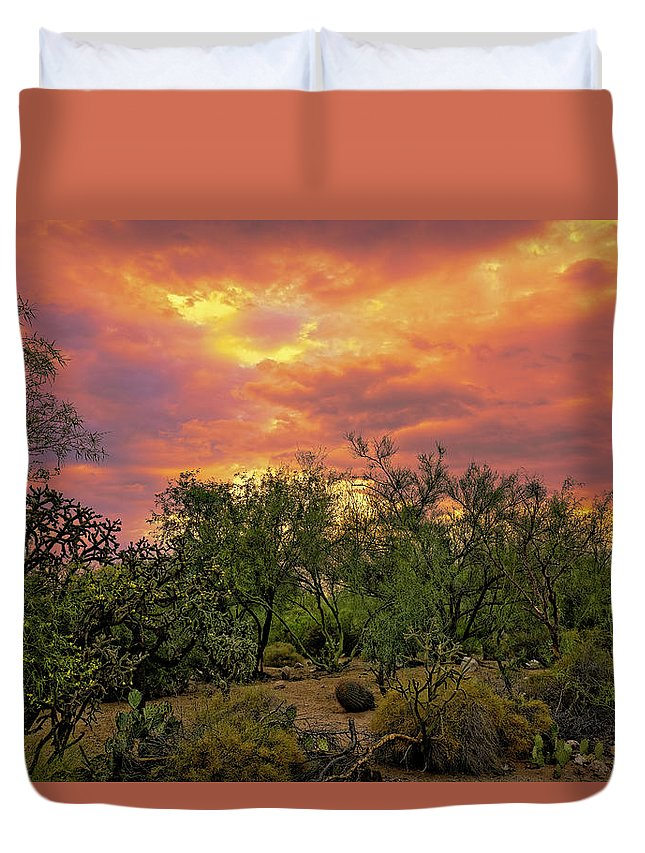 Arizona Duvet Cover featuring the photograph Sonoran Desert Sunset H44 by Mark Myhaver