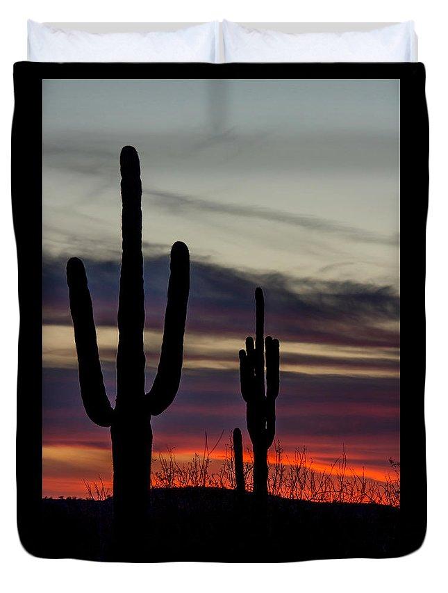Sky Duvet Cover featuring the photograph Sonoran Desert Sunset by Susan Westervelt