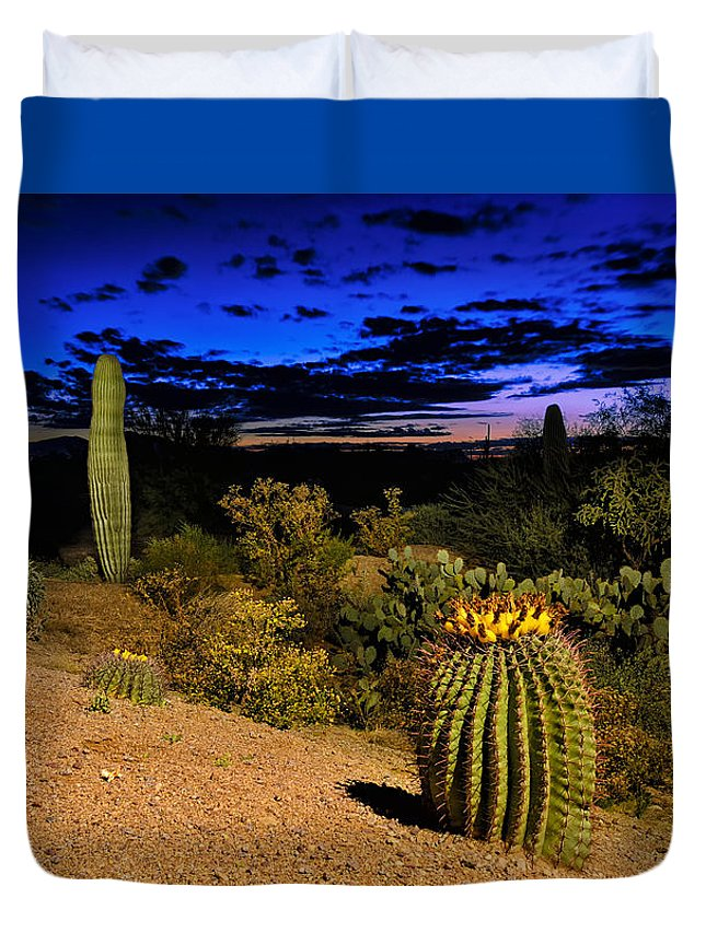 Cactus Duvet Cover featuring the photograph Sonoran Twilight by Mark Myhaver