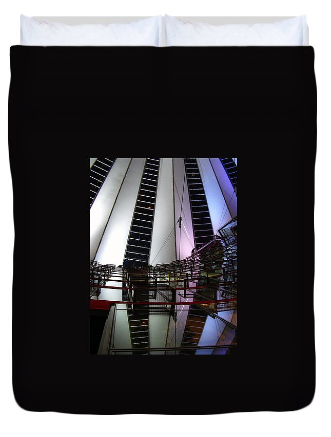 Sony Center Duvet Cover featuring the photograph Sony Center II by Flavia Westerwelle