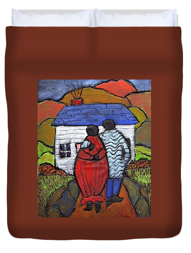 Folk Art Duvet Cover featuring the painting Soon To Be Three by Wayne Potrafka