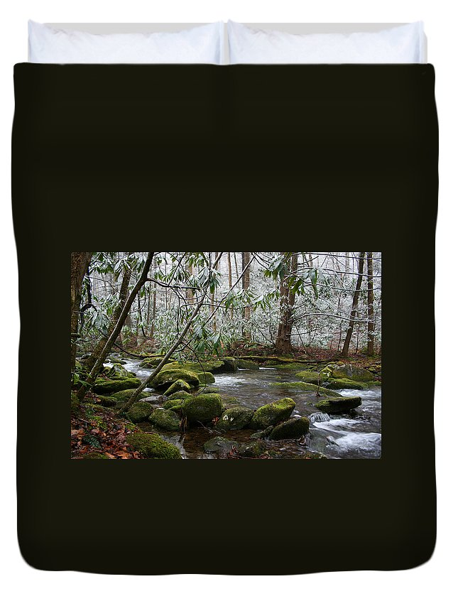 River Stream Creek Water Nature Rock Rocks Tree Trees Winter Snow Peaceful White Green Flowing Flow Duvet Cover featuring the photograph Soothing by Andrei Shliakhau