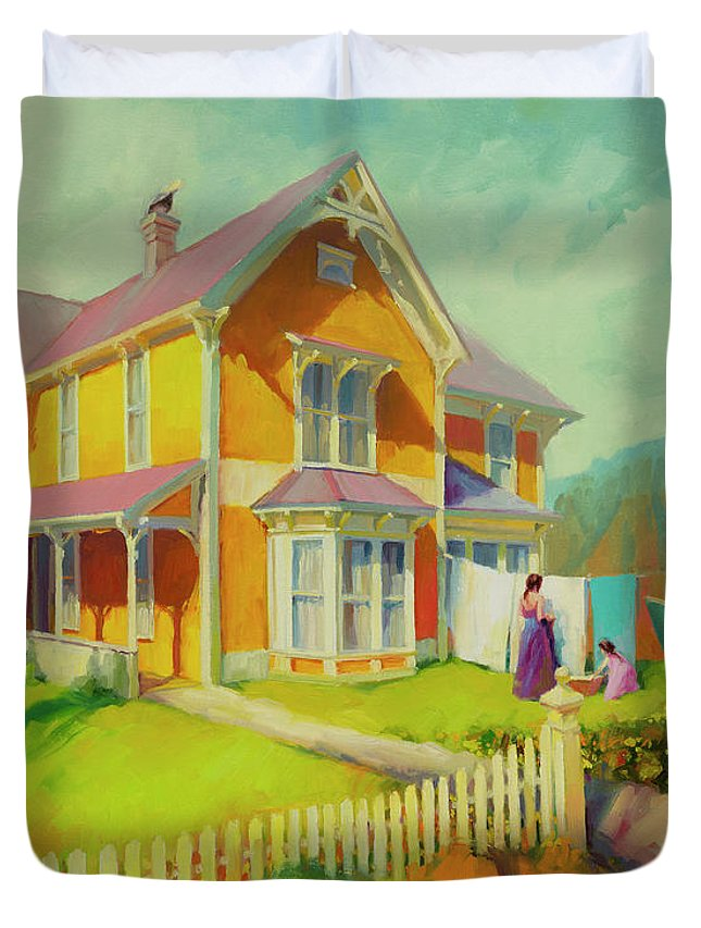 Coast Duvet Cover featuring the painting Sophie And Rose by Steve Henderson