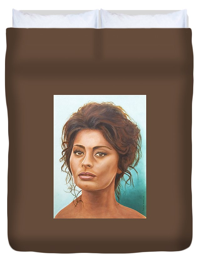 Moviestar Duvet Cover featuring the painting Sophia Loren by Rob De Vries
