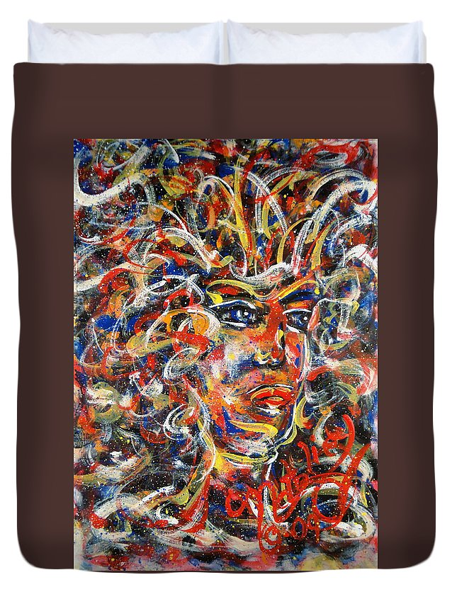 Free Expressionism Duvet Cover featuring the painting Sophia by Natalie Holland