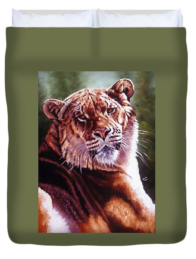 Hybrid Duvet Cover featuring the painting Sophie The Liger by Barbara Keith