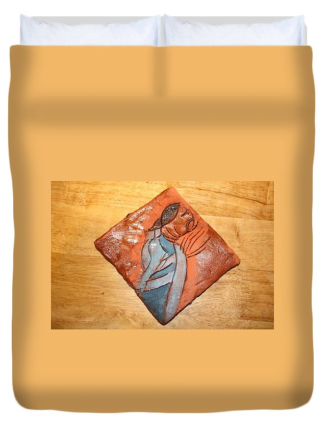 Jesus Duvet Cover featuring the ceramic art Soprano - Tile by Gloria Ssali