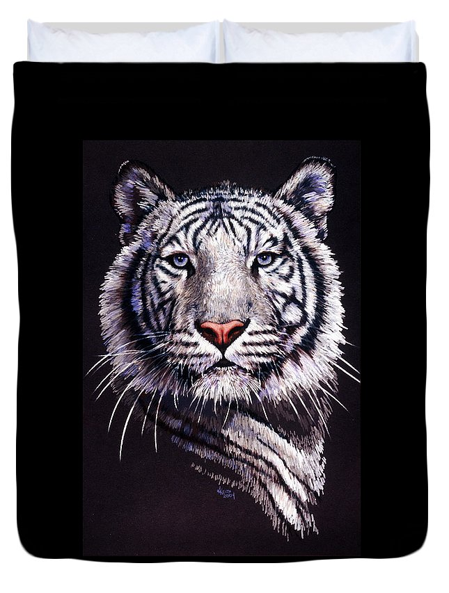 Tiger Duvet Cover featuring the drawing Sorcerer by Barbara Keith