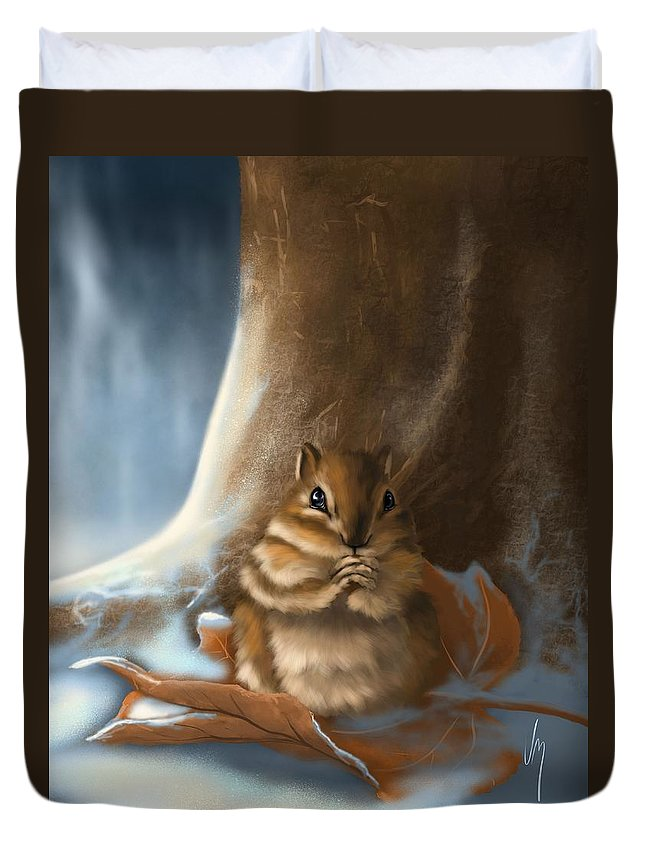 Squirrel Duvet Cover featuring the painting Sorry by Veronica Minozzi