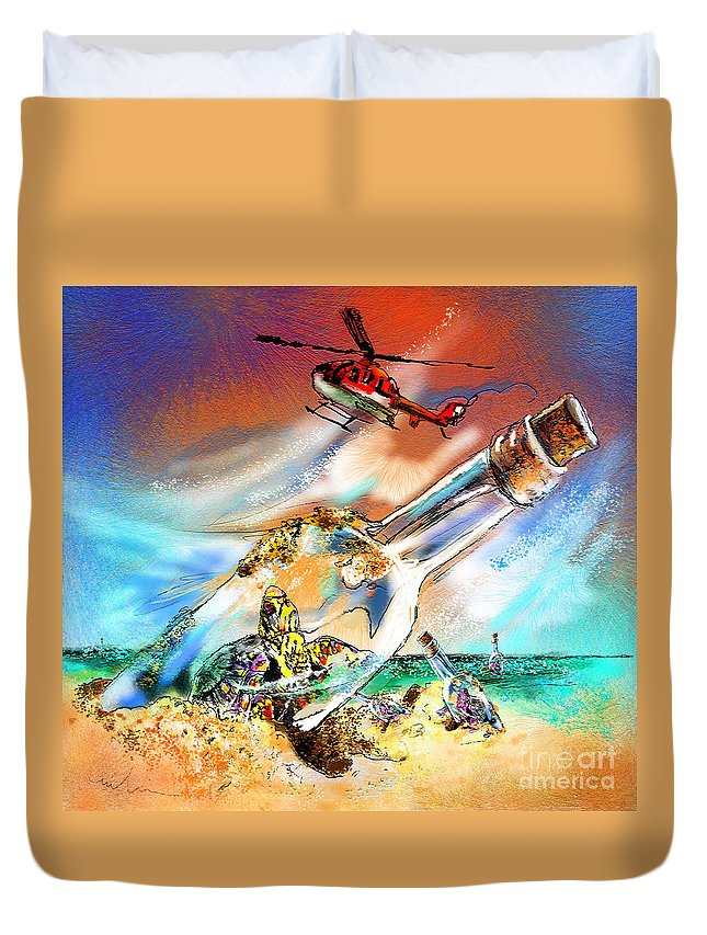 Turtles Duvet Cover featuring the painting Sos To The World by Miki De Goodaboom